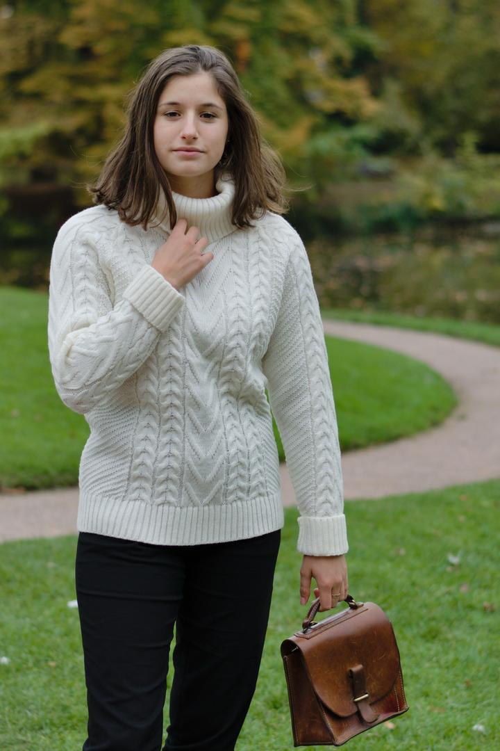 "Alpaca-Pullover mit Zopfmuster ""Urda"""
